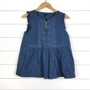 NWT Ann Taylor Embroidered Peasant Top Blue